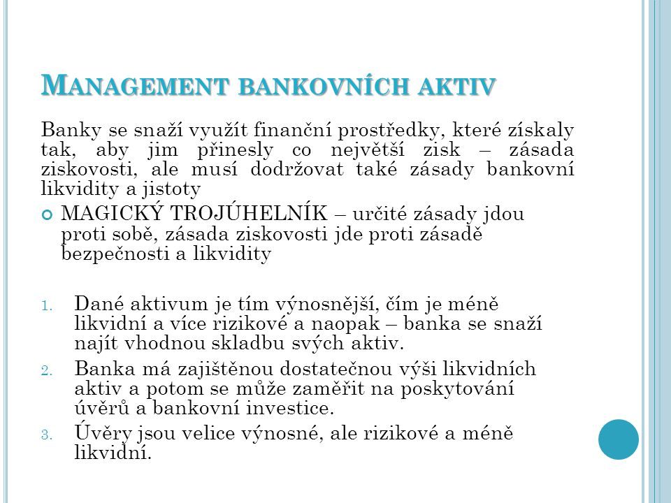 Management bankovních aktiv