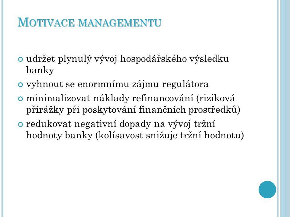 Motivace managementu udržet plynulý vývoj hospodářského výsledku banky