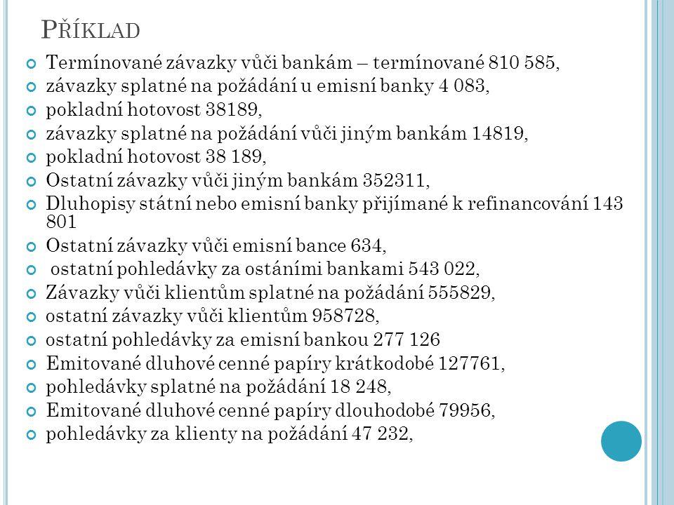 Příklad Termínované závazky vůči bankám – termínované 810 585,