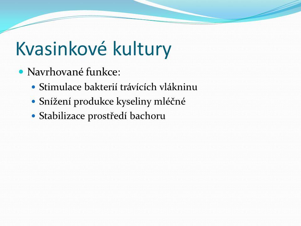 Kvasinkové kultury Navrhované funkce:
