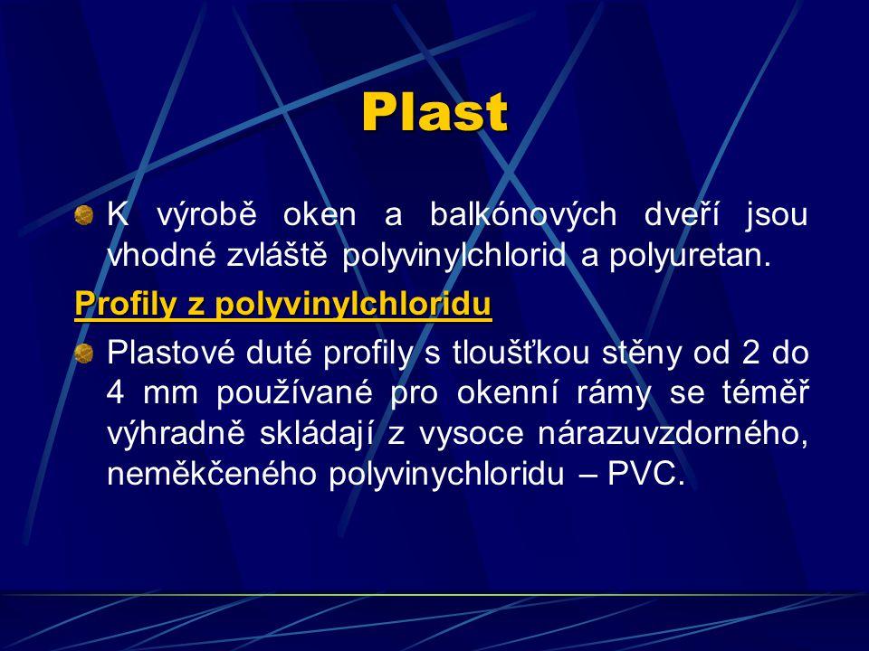 Plast K výrobě oken a balkónových dveří jsou vhodné zvláště polyvinylchlorid a polyuretan. Profily z polyvinylchloridu.