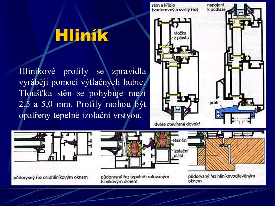 Hliník Hliníkové profily se zpravidla vyrábějí pomocí výtlačných hubic.