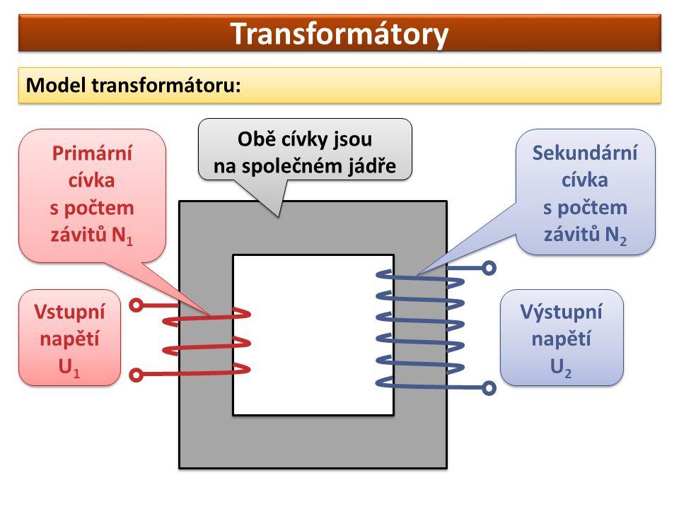 Transformátory Model transformátoru: Obě cívky jsou na společném jádře