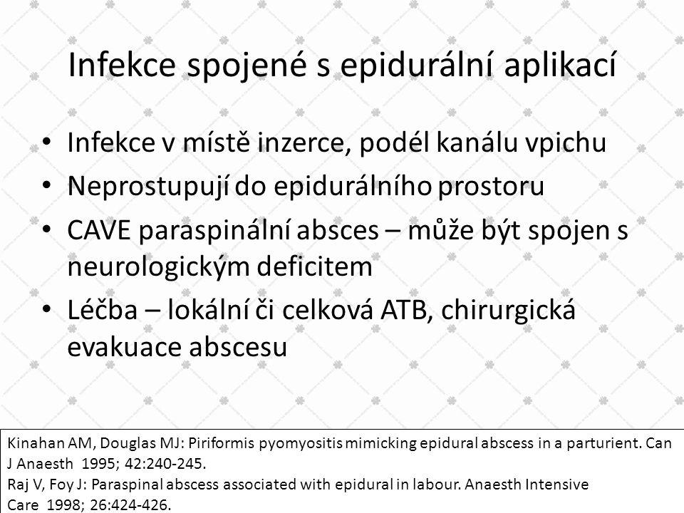 Infekce spojené s epidurální aplikací