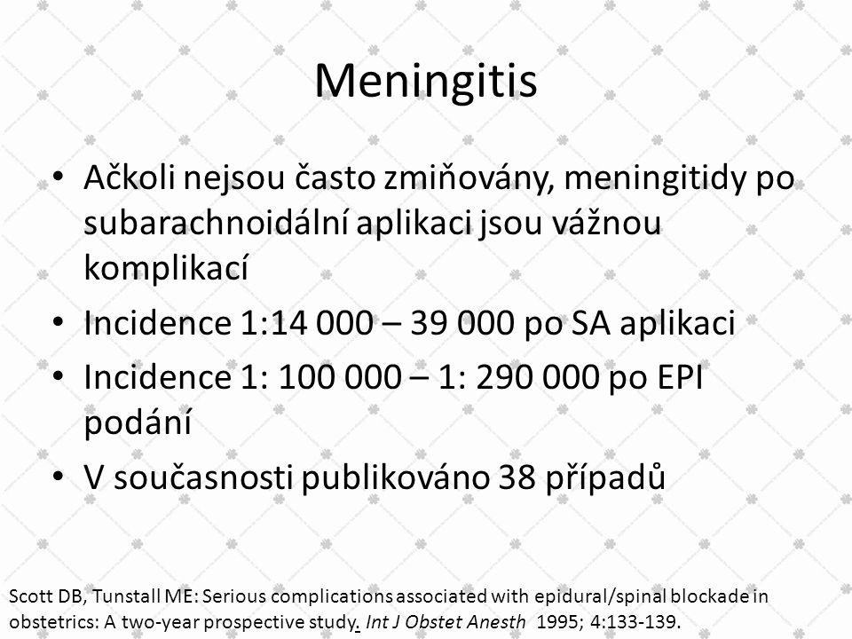 Meningitis Ačkoli nejsou často zmiňovány, meningitidy po subarachnoidální aplikaci jsou vážnou komplikací.