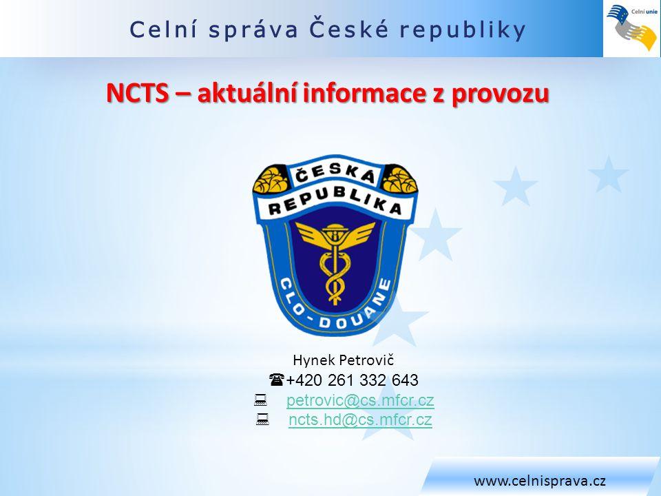 NCTS – aktuální informace z provozu