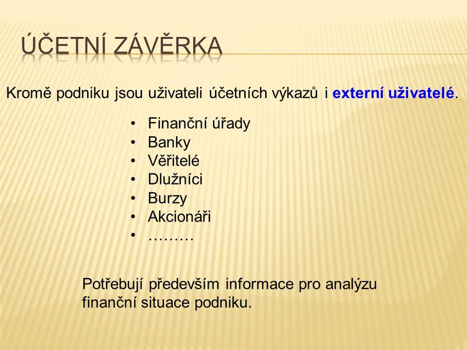 Účetní závěrka Kromě podniku jsou uživateli účetních výkazů i externí uživatelé. Finanční úřady. Banky.