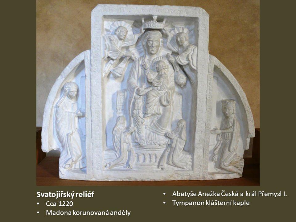 Svatojiřský reliéf Abatyše Anežka Česká a král Přemysl I. Cca 1220