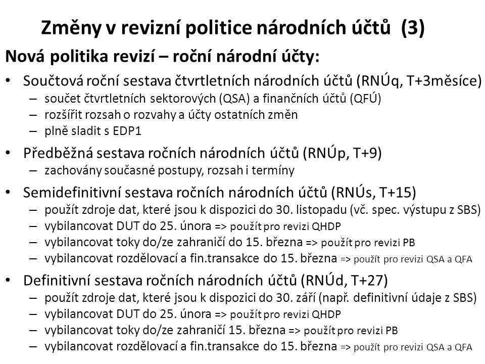 Změny v revizní politice národních účtů (3)