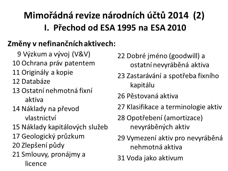 Mimořádná revize národních účtů 2014 (2) I