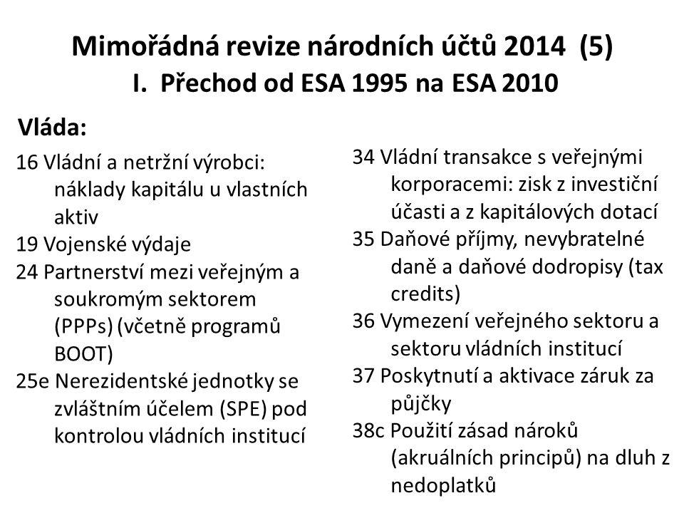 Mimořádná revize národních účtů 2014 (5) I