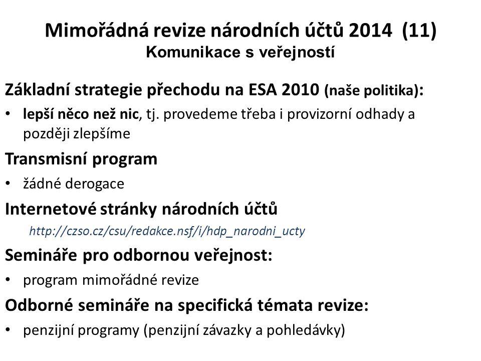 Mimořádná revize národních účtů 2014 (11) Komunikace s veřejností