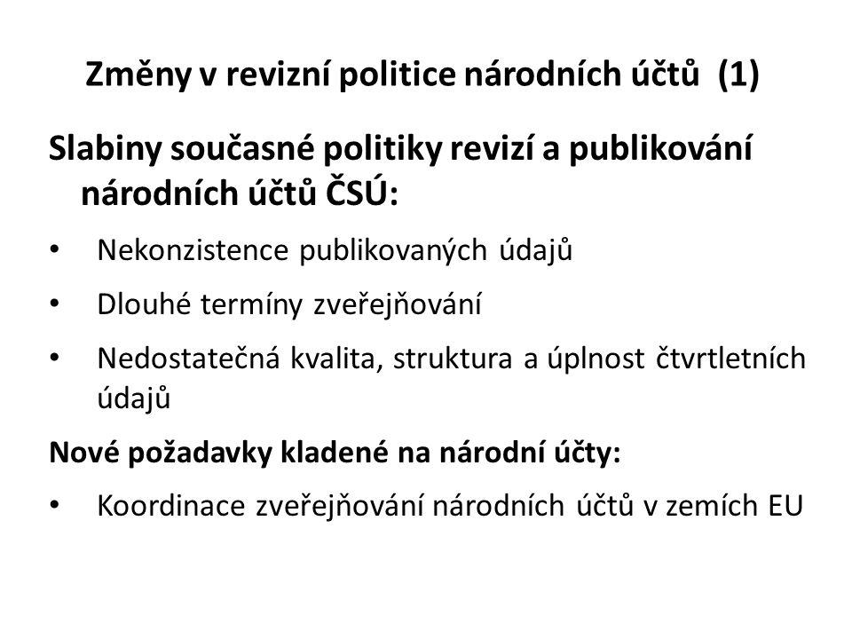 Změny v revizní politice národních účtů (1)