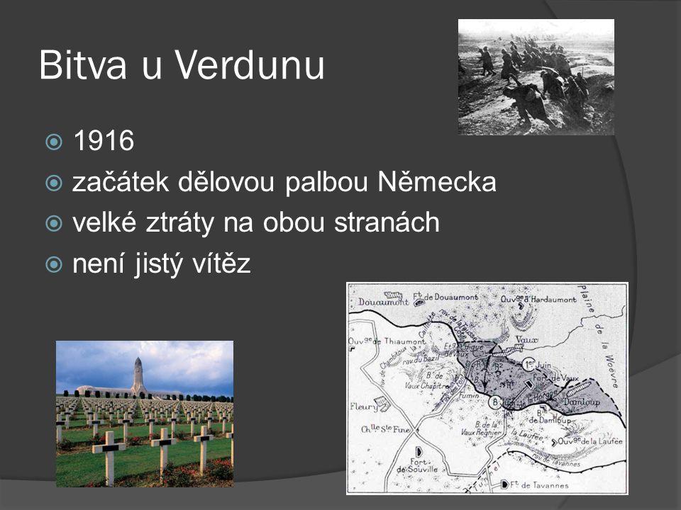 Bitva u Verdunu 1916 začátek dělovou palbou Německa