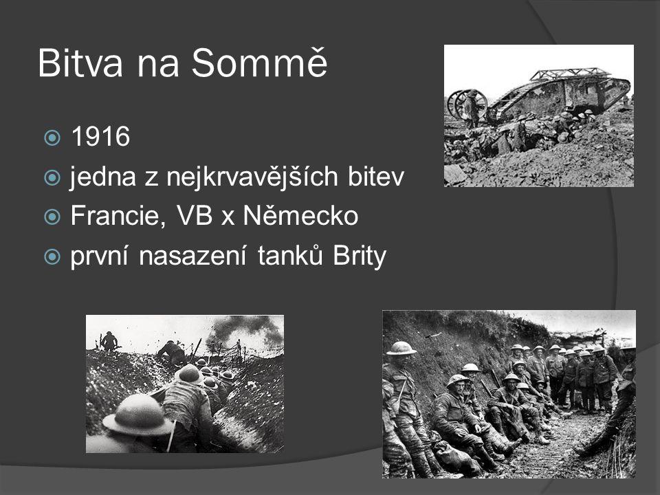 Bitva na Sommě 1916 jedna z nejkrvavějších bitev Francie, VB x Německo