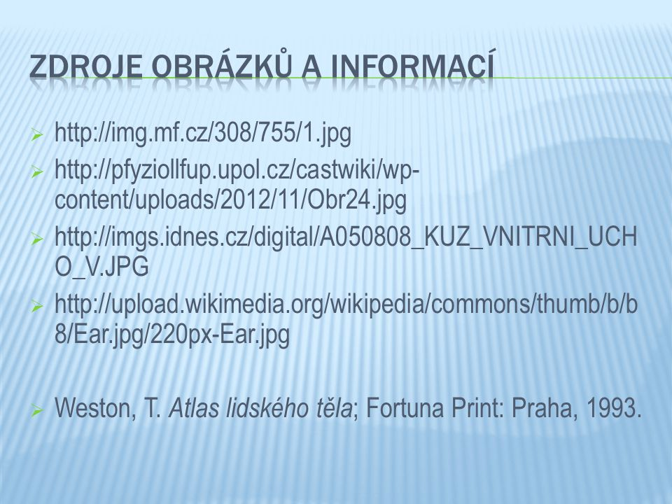 Zdroje obrázků a informací