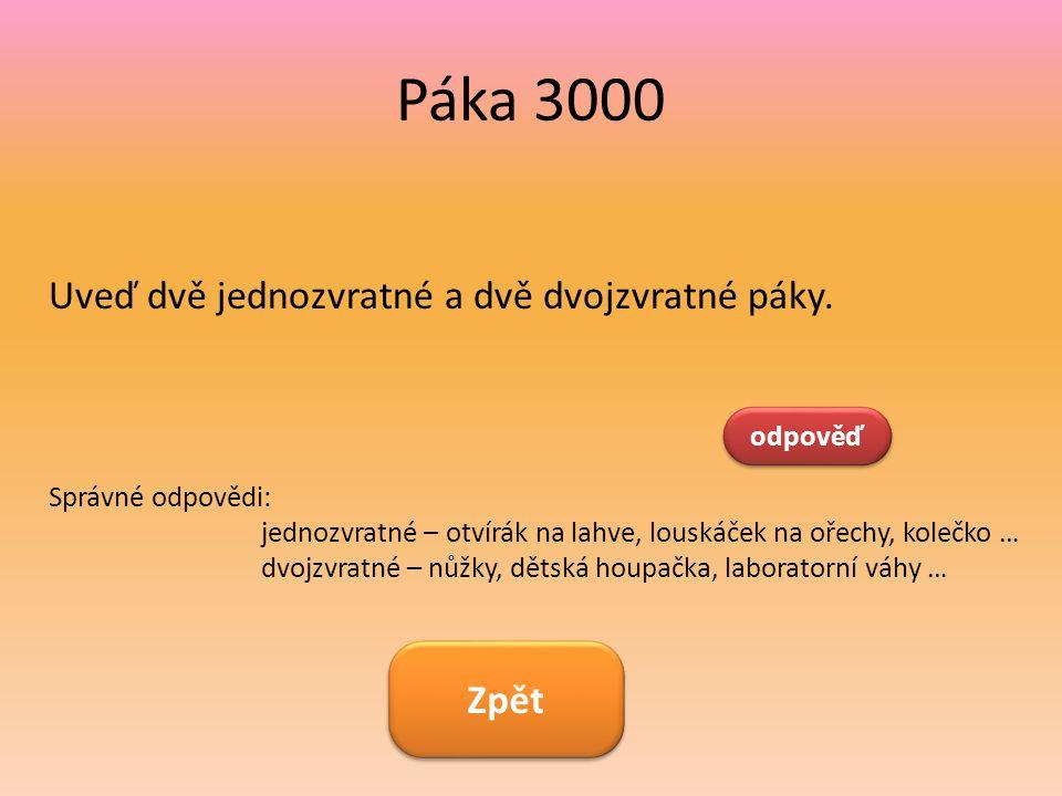 Páka 3000 Uveď dvě jednozvratné a dvě dvojzvratné páky. Zpět odpověď