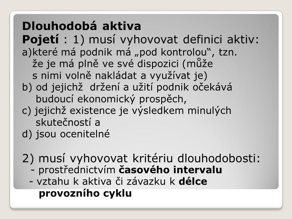 Pojetí : 1) musí vyhovovat definici aktiv: