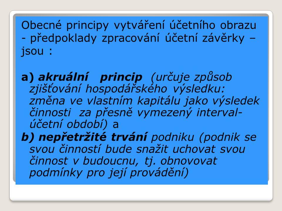 Obecné principy vytváření účetního obrazu