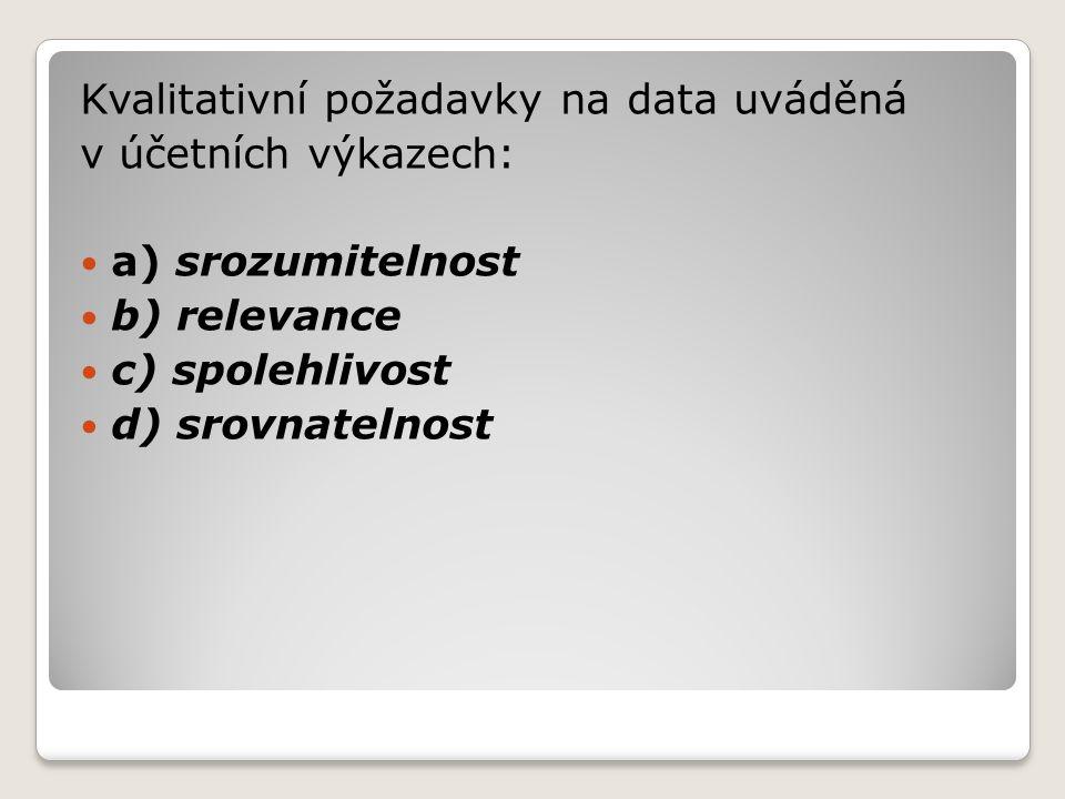Kvalitativní požadavky na data uváděná