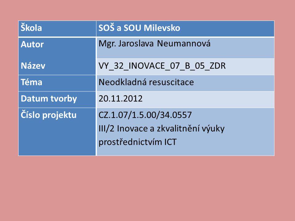 Škola SOŠ a SOU Milevsko. Autor. Mgr. Jaroslava Neumannová. Název. VY_32_INOVACE_07_B_05_ZDR. Téma.