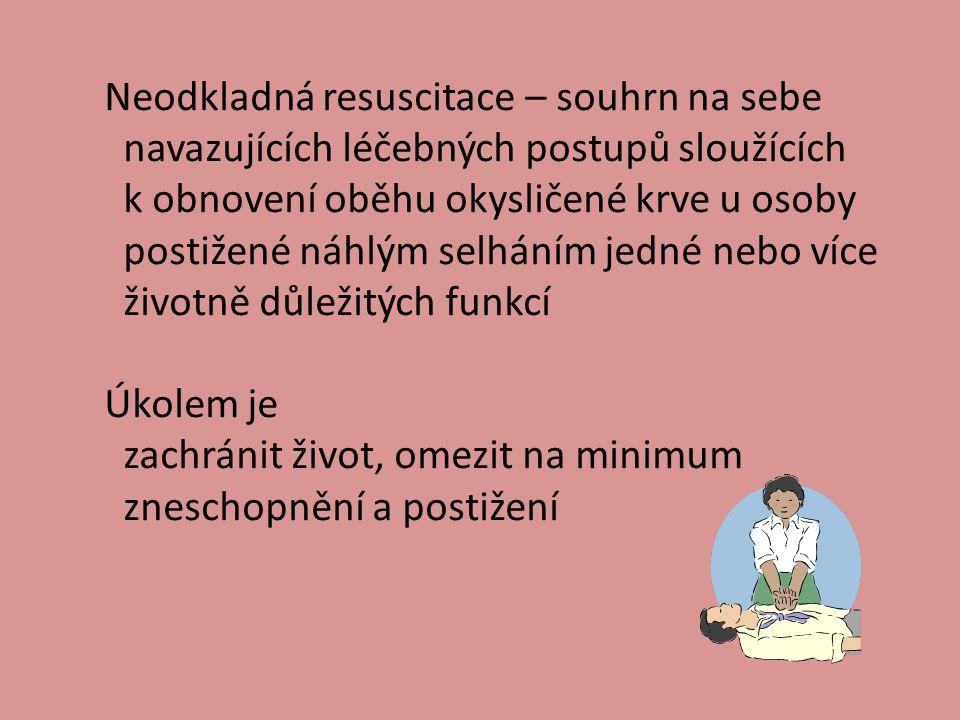 Neodkladná resuscitace – souhrn na sebe