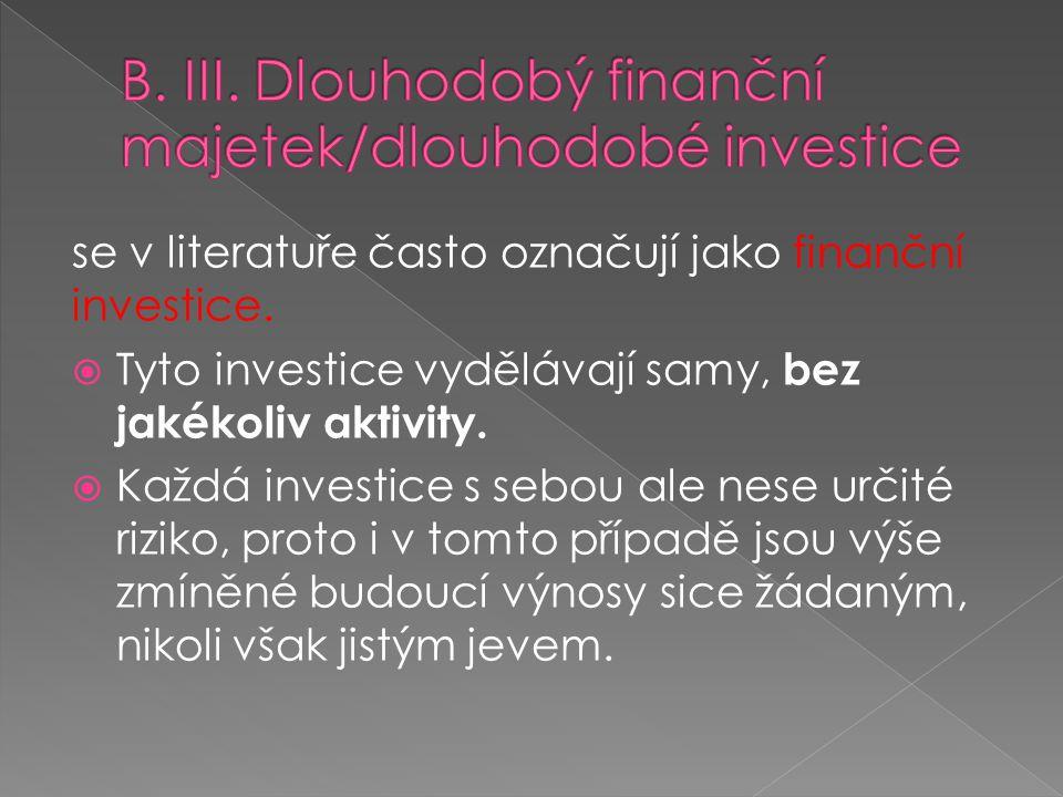 B. III. Dlouhodobý finanční majetek/dlouhodobé investice