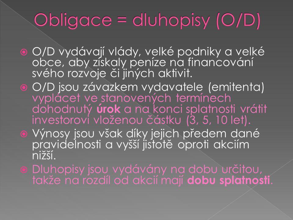 Obligace = dluhopisy (O/D)