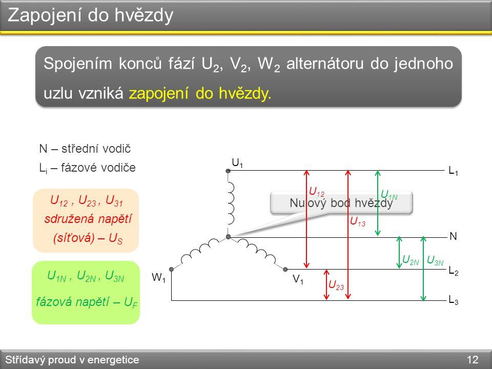 Zapojení do hvězdy Spojením konců fází U2, V2, W2 alternátoru do jednoho uzlu vzniká zapojení do hvězdy.