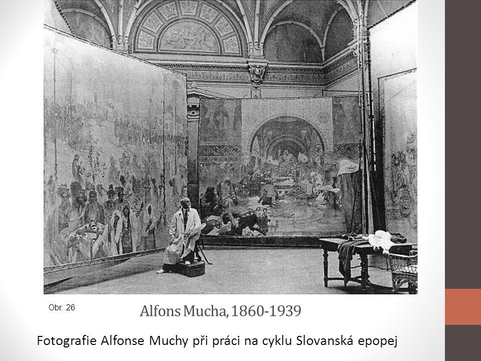 Fotografie Alfonse Muchy při práci na cyklu Slovanská epopej