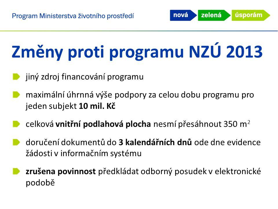 Změny proti programu NZÚ 2013