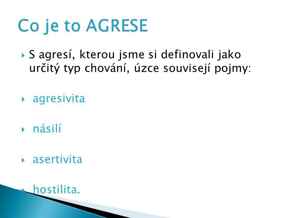 Co je to AGRESE S agresí, kterou jsme si definovali jako určitý typ chování, úzce souvisejí pojmy: