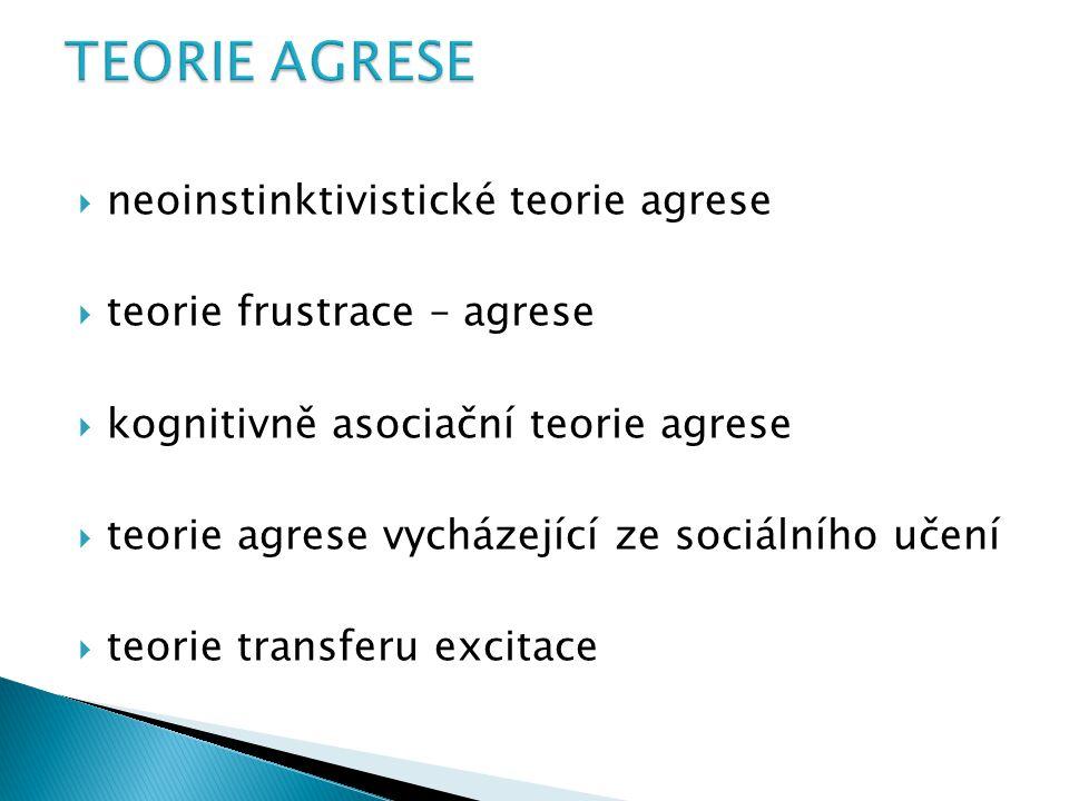 TEORIE AGRESE neoinstinktivistické teorie agrese