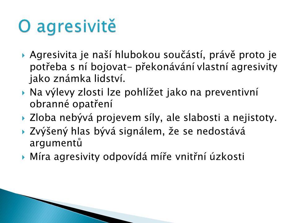 O agresivitě Agresivita je naší hlubokou součástí, právě proto je potřeba s ní bojovat- překonávání vlastní agresivity jako známka lidství.