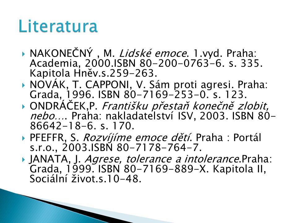Literatura Nakonečný , M. Lidské emoce. 1.vyd. Praha: Academia, 2000.ISBN 80-200-0763-6. s. 335. Kapitola Hněv.s.259-263.