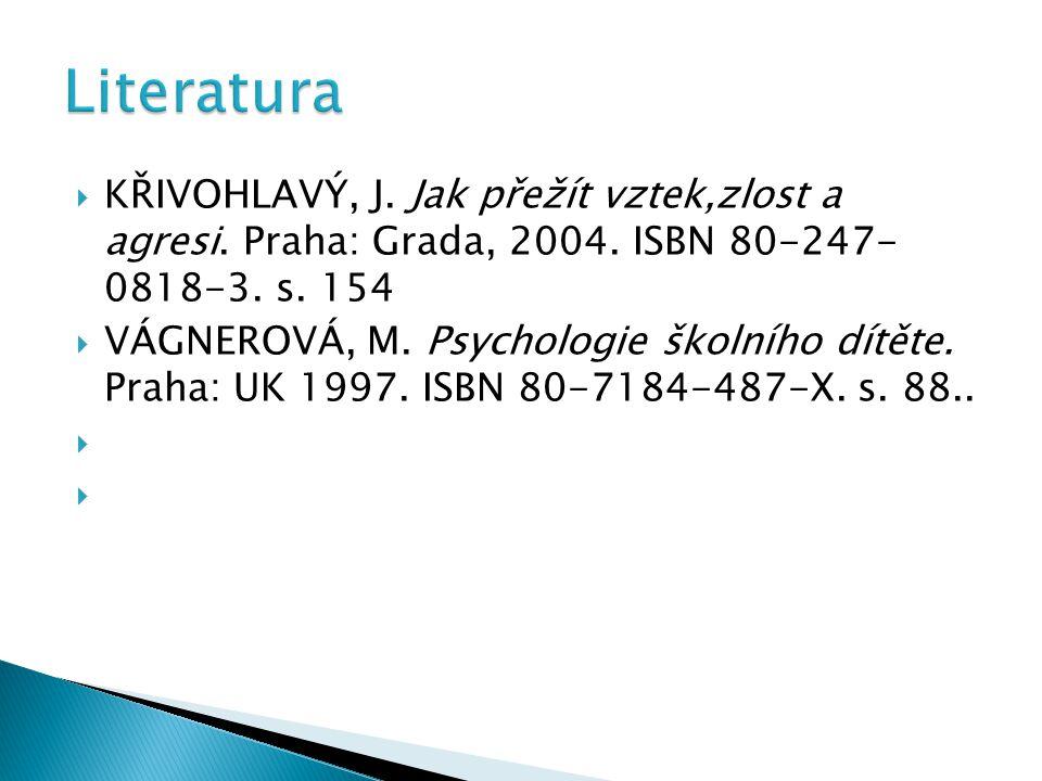 Literatura Křivohlavý, J. Jak přežít vztek,zlost a agresi. Praha: Grada, 2004. ISBN 80-247- 0818-3. s. 154.