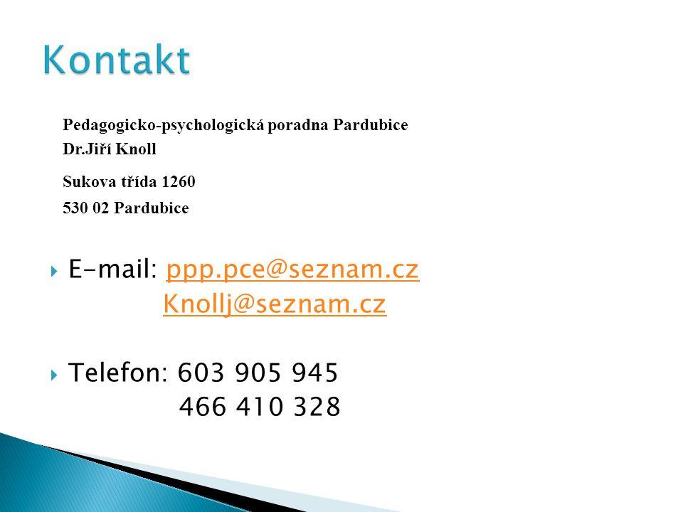 Kontakt Sukova třída 1260 E-mail: ppp.pce@seznam.cz Knollj@seznam.cz