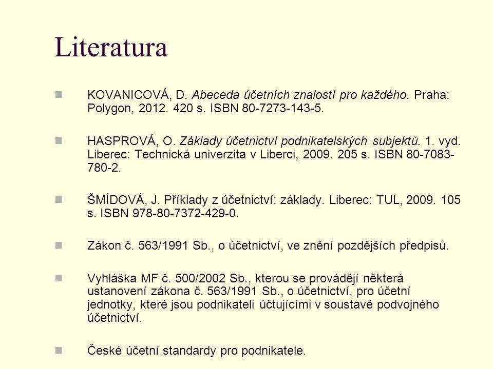 Literatura KOVANICOVÁ, D. Abeceda účetních znalostí pro každého. Praha: Polygon, 2012. 420 s. ISBN 80-7273-143-5.