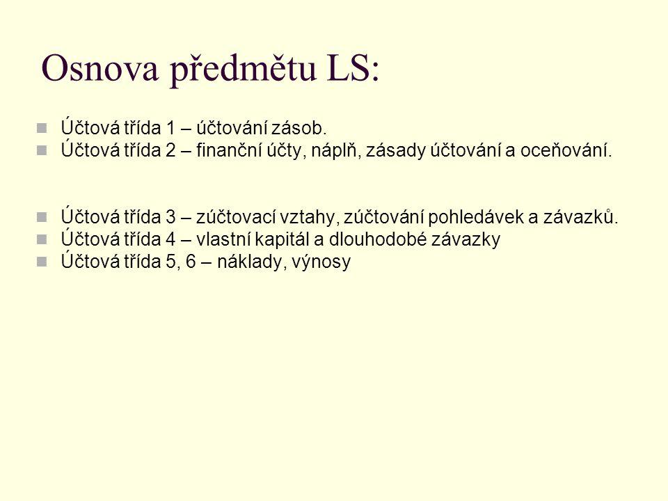 Osnova předmětu LS: Účtová třída 1 – účtování zásob.