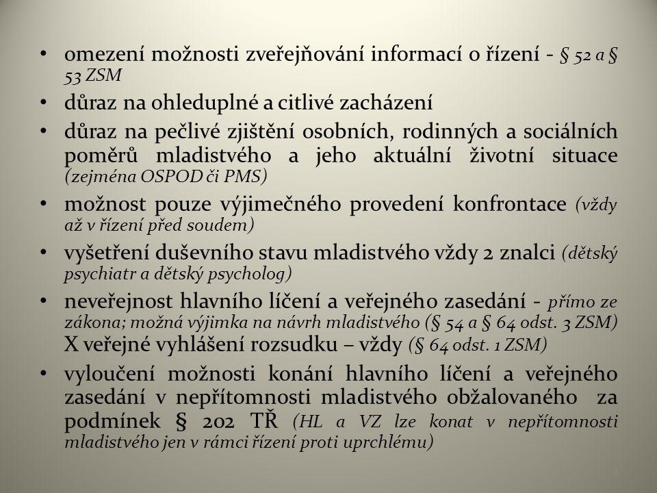 omezení možnosti zveřejňování informací o řízení - § 52 a § 53 ZSM