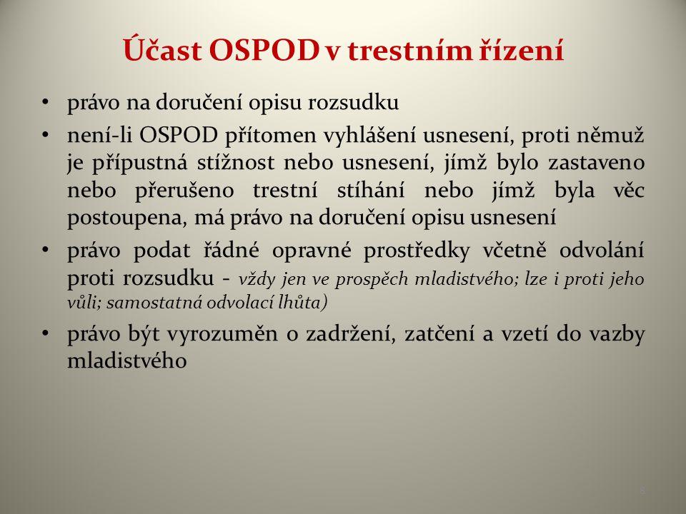 Účast OSPOD v trestním řízení