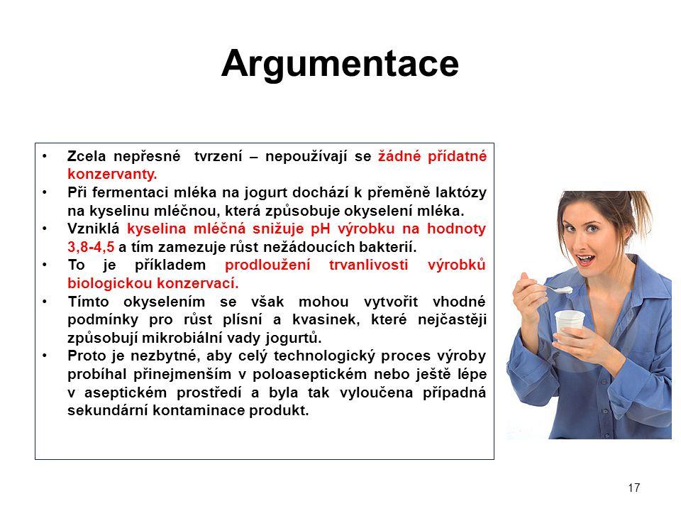 Argumentace Zcela nepřesné tvrzení – nepoužívají se žádné přídatné konzervanty.