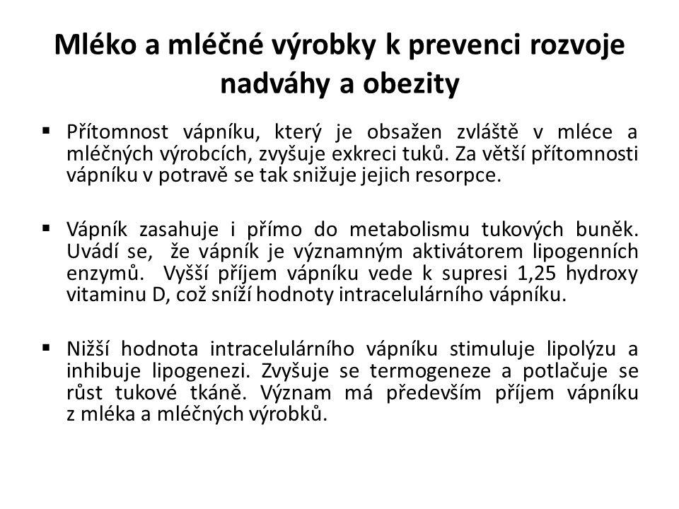 Mléko a mléčné výrobky k prevenci rozvoje nadváhy a obezity