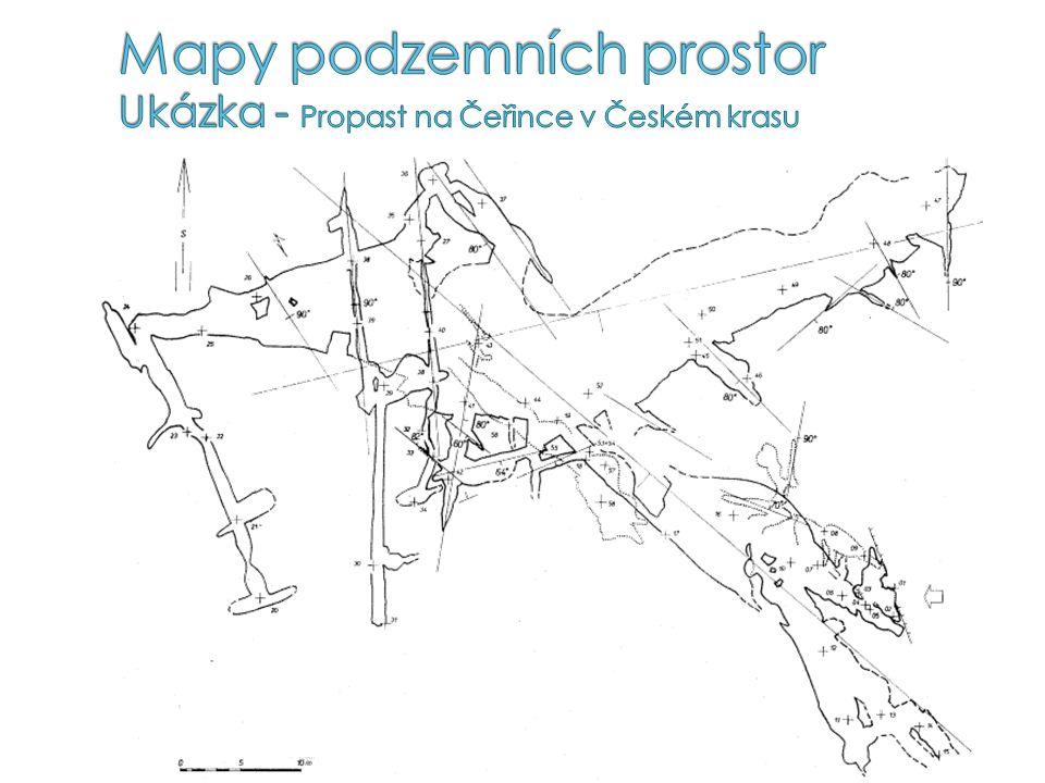 Mapy podzemních prostor Ukázka - Propast na Čeřince v Českém krasu