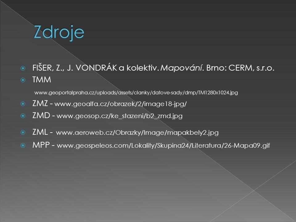 Zdroje FIŠER, Z., J. VONDRÁK a kolektiv. Mapování. Brno: CERM, s.r.o.