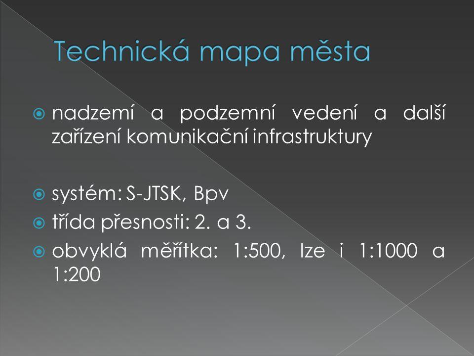 Technická mapa města nadzemí a podzemní vedení a další zařízení komunikační infrastruktury. systém: S-JTSK, Bpv.