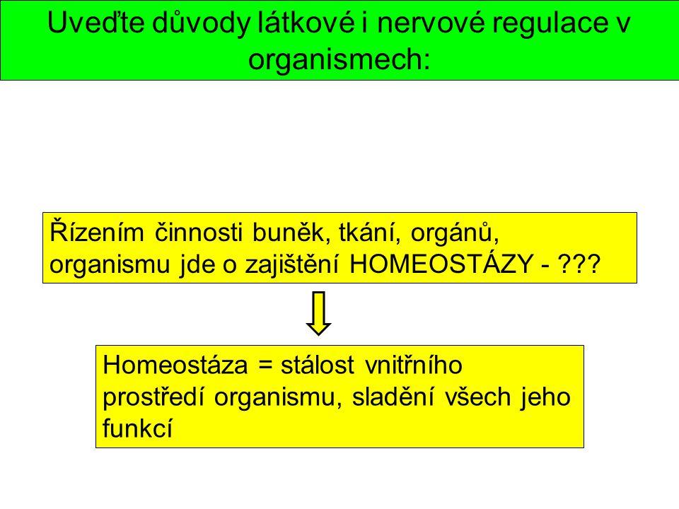 Uveďte důvody látkové i nervové regulace v organismech: