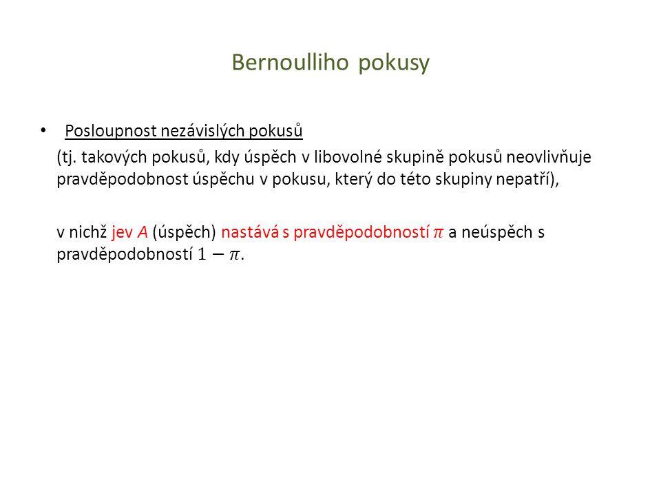 Bernoulliho pokusy Posloupnost nezávislých pokusů