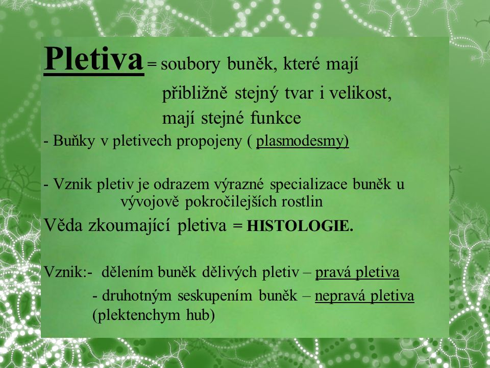 Pletiva = soubory buněk, které mají