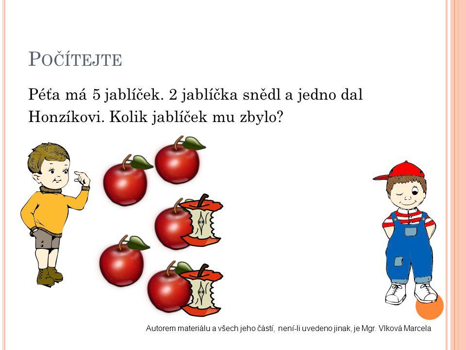 Počítejte Péťa má 5 jablíček. 2 jablíčka snědl a jedno dal Honzíkovi. Kolik jablíček mu zbylo
